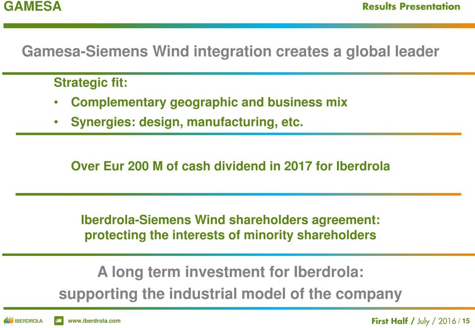 Over Eur 200 M of cash dividend in 2017 for Iberdrola Iberdrola-Siemens Wind shareholders