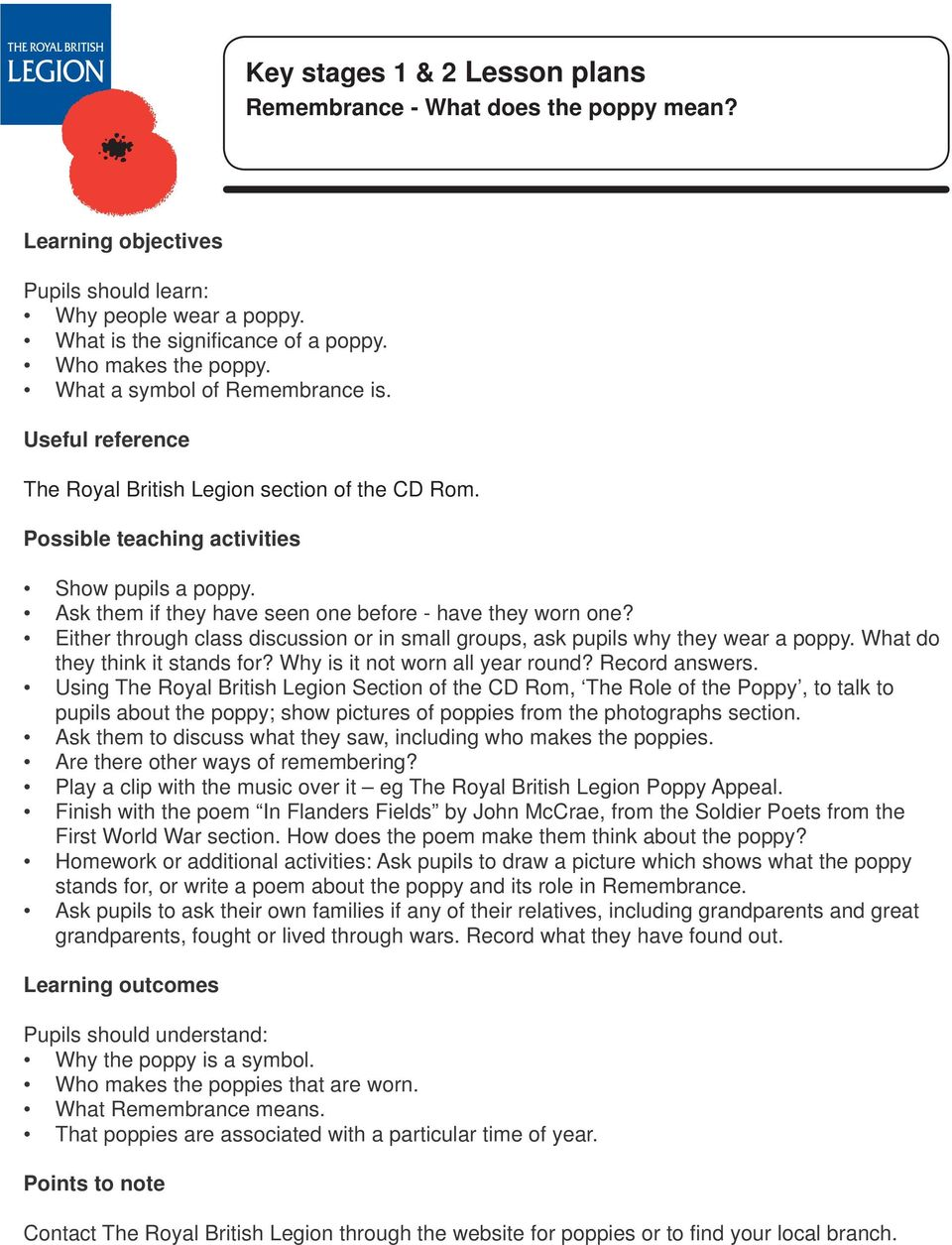 Either through class discussion or in small groups, ask pupils why they wear a poppy. What do they think it stands for? Why is it not worn all year round? Record answers.