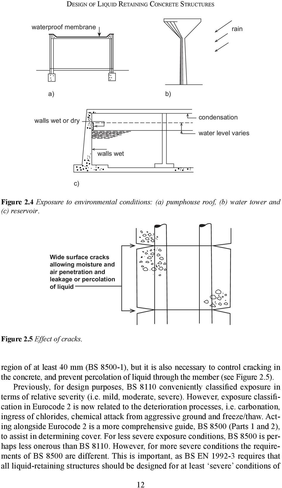 5 Effect of cracks. region of at least 40 mm (BS 8500-1), but it is also necessary to control cracking in the concrete, and prevent percolation of liquid through the member (see Figure 2.5).