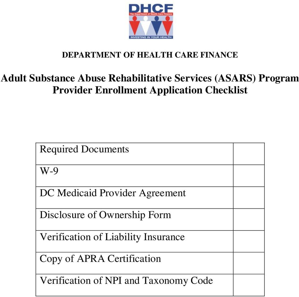 DC Medicaid Provider Agreement Disclosure of Ownership Form Verification of