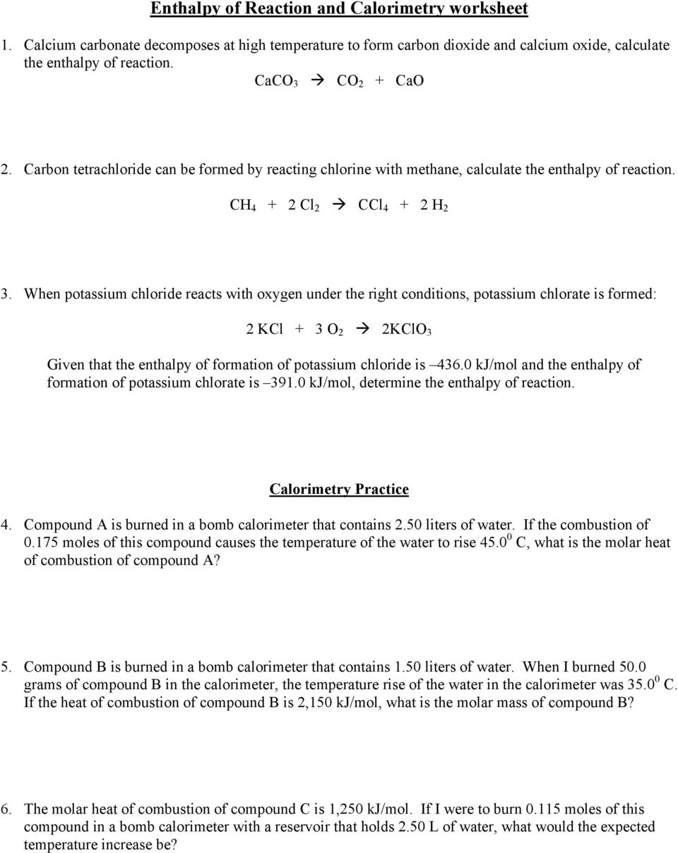 Enthalpy Of Reaction And Calorimetry Worksheet Pdf