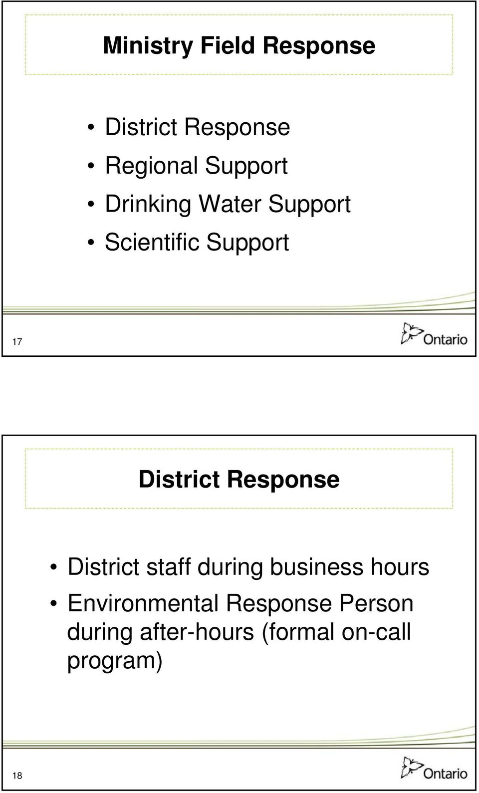 Response District staff during business hours