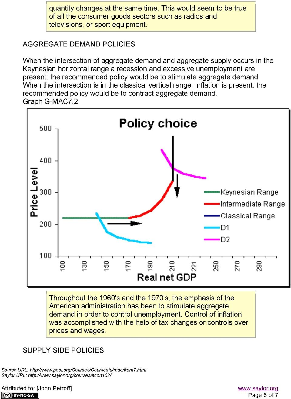 policy would be to stimulate aggregate demand. When the intersection is in the classical vertical range, inflation is present: the recommended policy would be to contract aggregate demand.