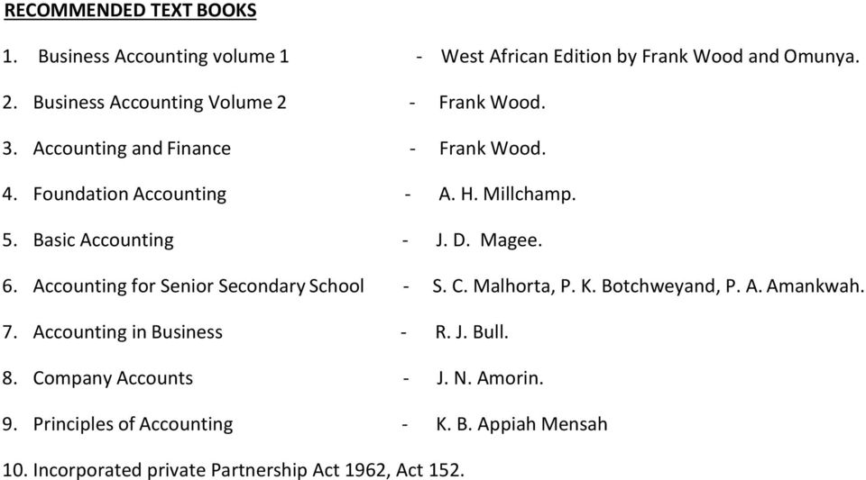 Basic Accounting - J. D. Magee. 6. Accounting for Senior Secondary School - S. C. Malhorta, P. K. Botchweyand, P. A. Amankwah. 7.