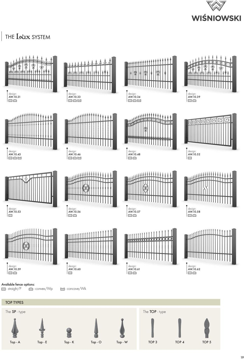 10.62 Available fence options: - straight/p - convex/wp - concave/wk TOP TYPES The SP -