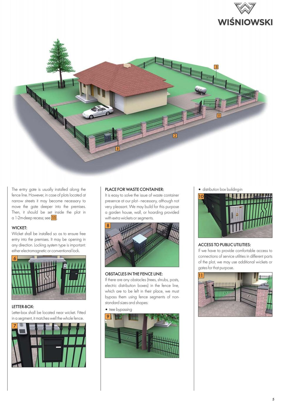 Locking system type is important: either electromagnetic or conventional lock. 6 LETTER-BOX: Letter-box shall be located near wicket. Fitted in a segment, it matches well the whole fence.