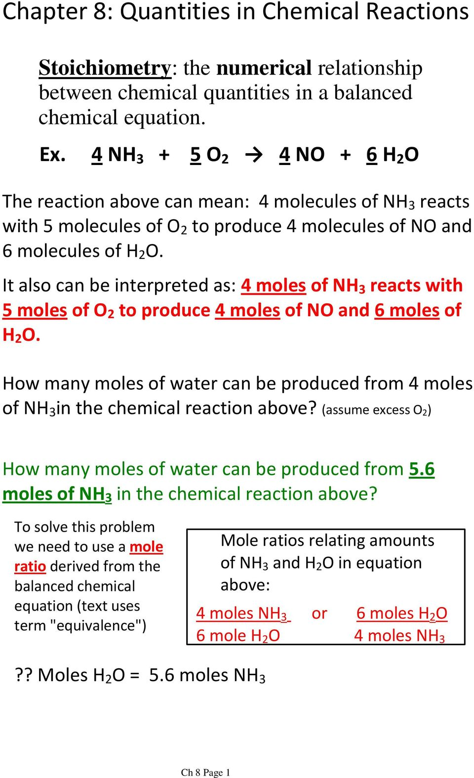 It also can be interpreted as: 4 molesof NH 3 reacts with 5 molesof O 2 to produce 4 molesof NO and 6 molesof H 2 O.