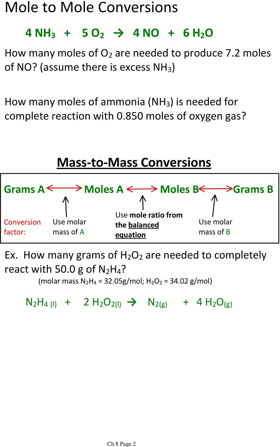 Mass-to-Mass Conversions Grams A Moles A Moles B Grams B Conversion factor: mass of A Use mole ratio from the balanced equation mass of B Ex.