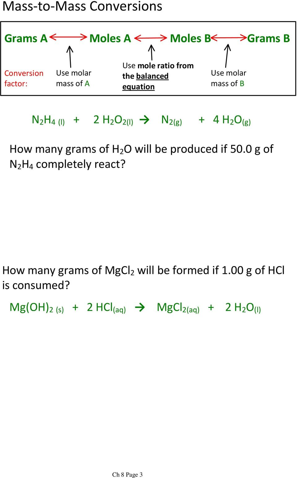 How many grams of H 2 O will be produced if 50.0 g of N 2 H 4 completely react?