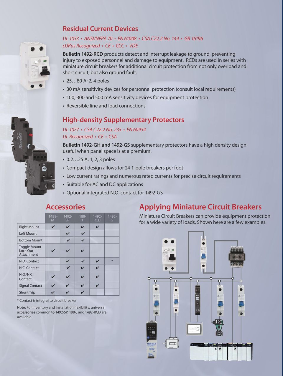 RCDs are used in series with miniature circuit breakers for additional circuit protection from not only overload and short circuit, but also ground fault.