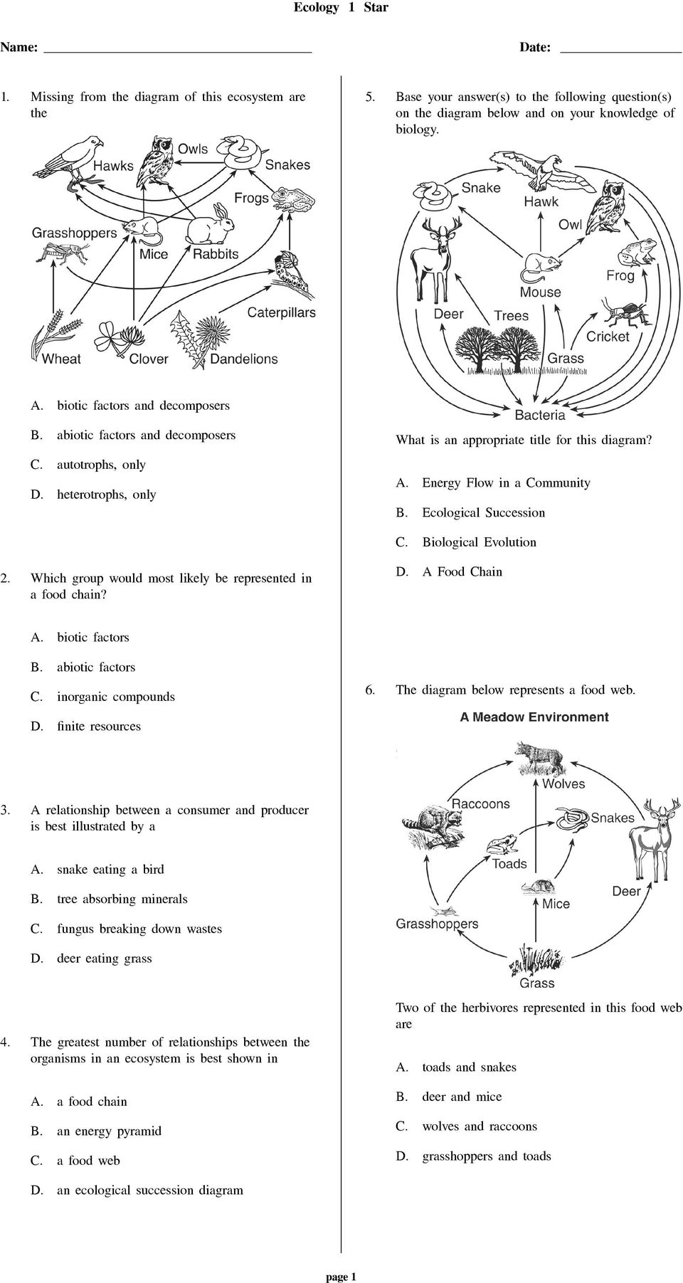 worksheet Biotic And Abiotic Factors Worksheet ecology 1 star missing from the diagram of this ecosystem are ecological succession iological evolution 2 which group would most likely be represented in a