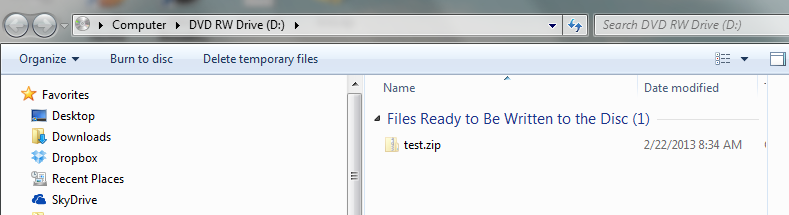 Once you are ready to write your files, click Burn to disc, and follow the steps in the Wizard to burn the disc.