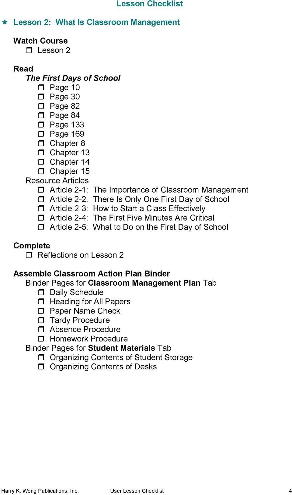 on the First Day of School Reflections on Lesson 2 Binder Pages for Classroom Management Plan Tab Daily Schedule Heading for All Papers Paper Name Check Tardy Procedure Absence