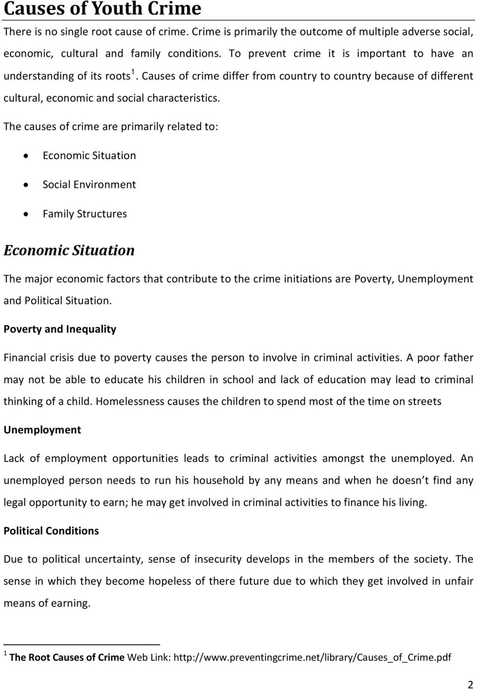 youth crime causes and remedies pdf the causes of crime are primarily related to economic situation social environment family structures economic