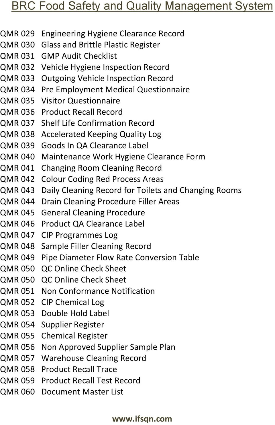 Goods In QA Clearance Label QMR 040 Maintenance Work Hygiene Clearance Form QMR 041 Changing Room Cleaning Record QMR 042 Colour Coding Red Process Areas QMR 043 Daily Cleaning Record for Toilets and