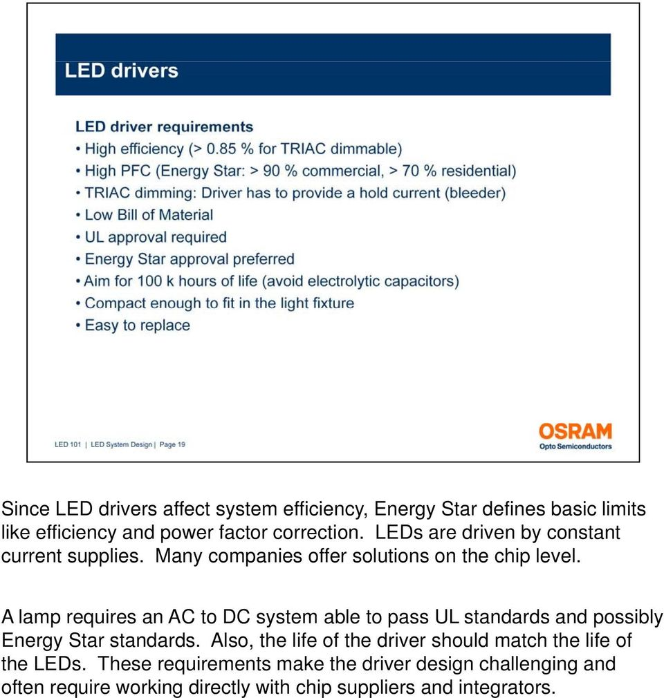 A lamp requires an AC to DC system able to pass UL standards and possibly Energy Star standards.