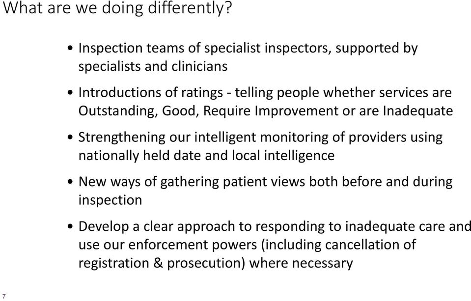 are Outstanding, Good, Require Improvement or are Inadequate Strengthening our intelligent monitoring of providers using nationally held date