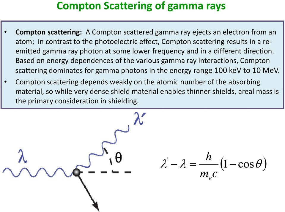 Based on energy dependences of the various gamma ray interactions, Compton scattering dominates for gamma photons in the energy range 100 kev to 10 MeV.