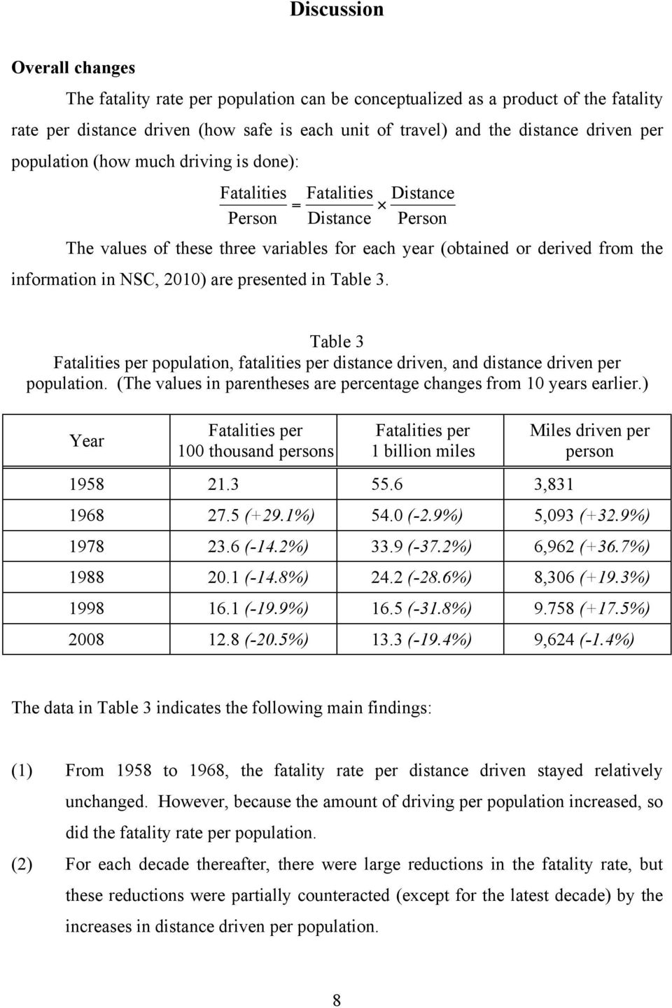 2010) are presented in Table 3. Table 3 Fatalities per population, fatalities per distance driven, and distance driven per population.