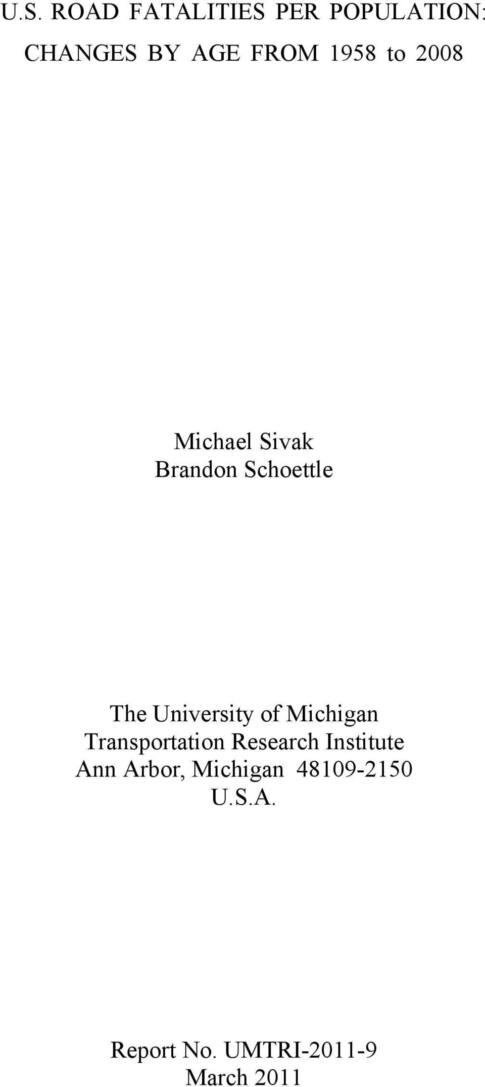 University of Michigan Transportation Research Institute