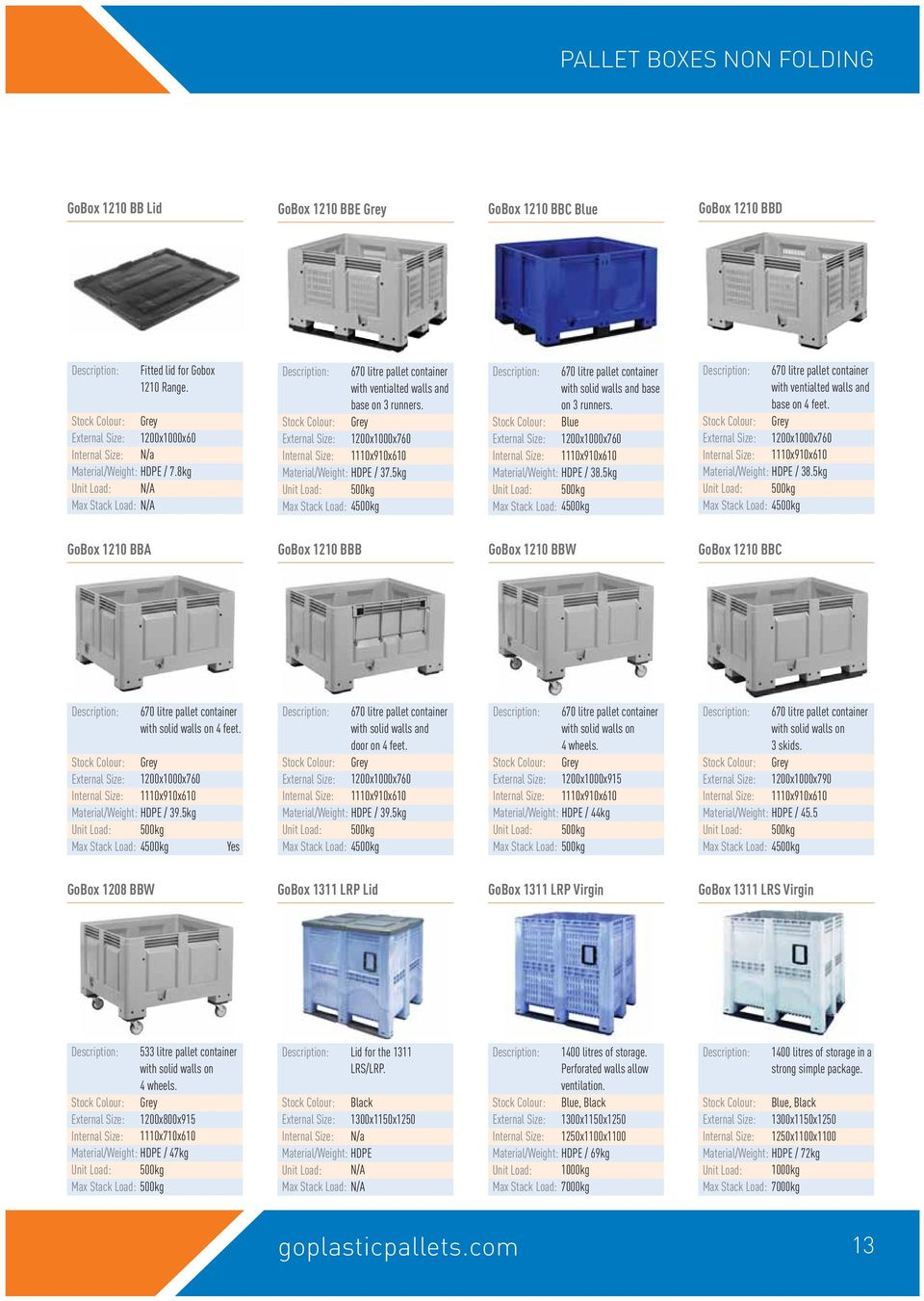 thousands of pallets and containers available from stock for