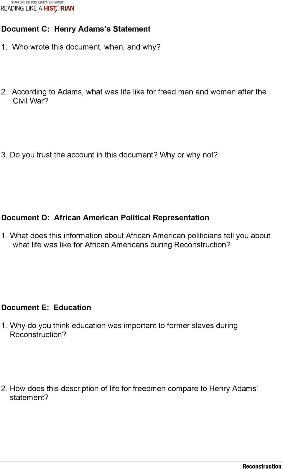 Document D: African American Political Representation 1.