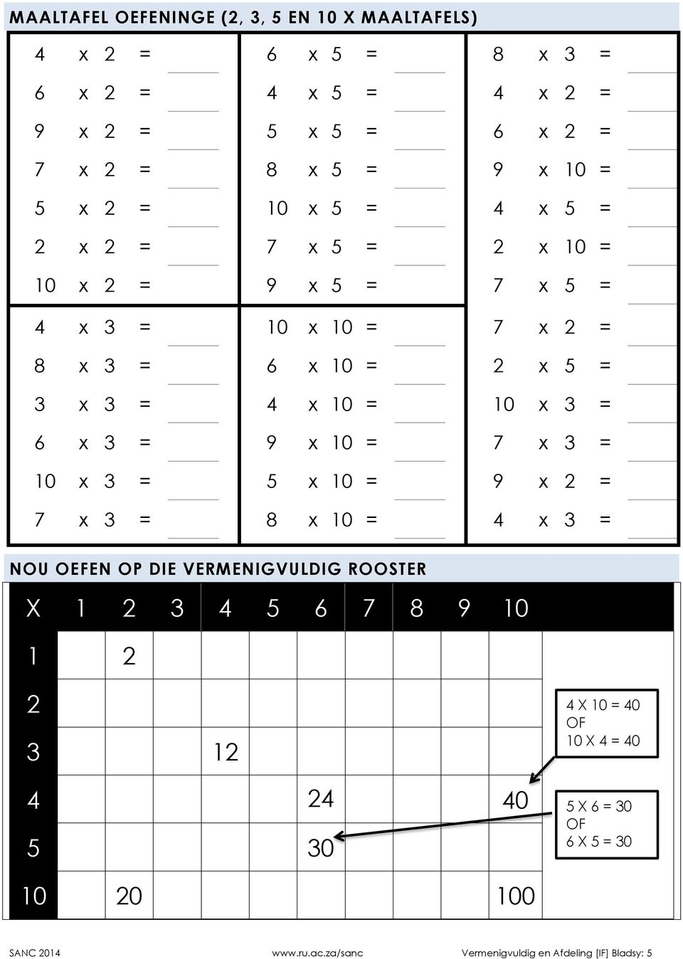 x 3 = 6 x 3 = 9 x 10 = 7 x 3 = 10 x 3 = 5 x 10 = 9 x 2 = 7 x 3 = 8 x 10 = 4 x 3 = NOU OEFEN OP DIE VERMENIGVULDIG ROOSTER 2 3 4 5 6 7 8 9 10 1 2 2