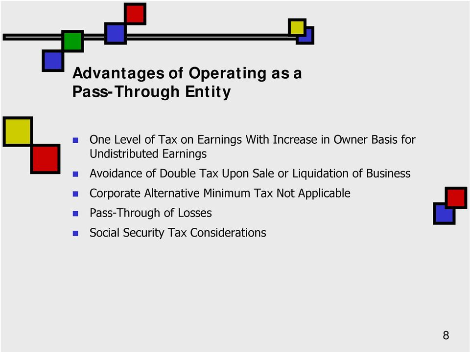 of Double Tax Upon Sale or Liquidation of Business Corporate Alternative