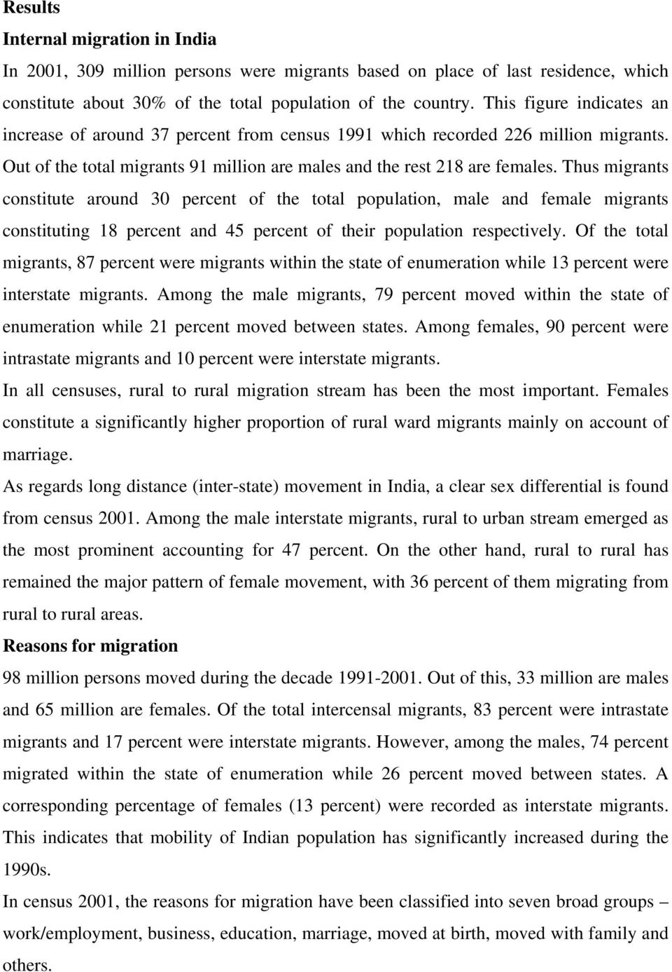 Thus migrants constitute around 30 percent of the total population, male and female migrants constituting 18 percent and 45 percent of their population respectively.