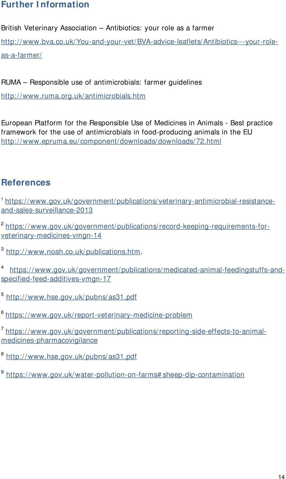 htm European Platform for the Responsible Use of Medicines in Animals - Best practice framework for the use of antimicrobials in food-producing animals in the EU http://www.epruma.