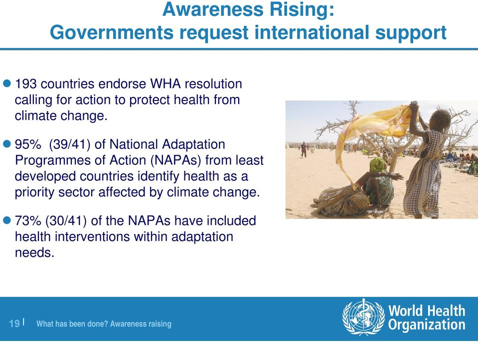 95% (39/41) of National Adaptation Programmes of Action (NAPAs) from least developed countries identify