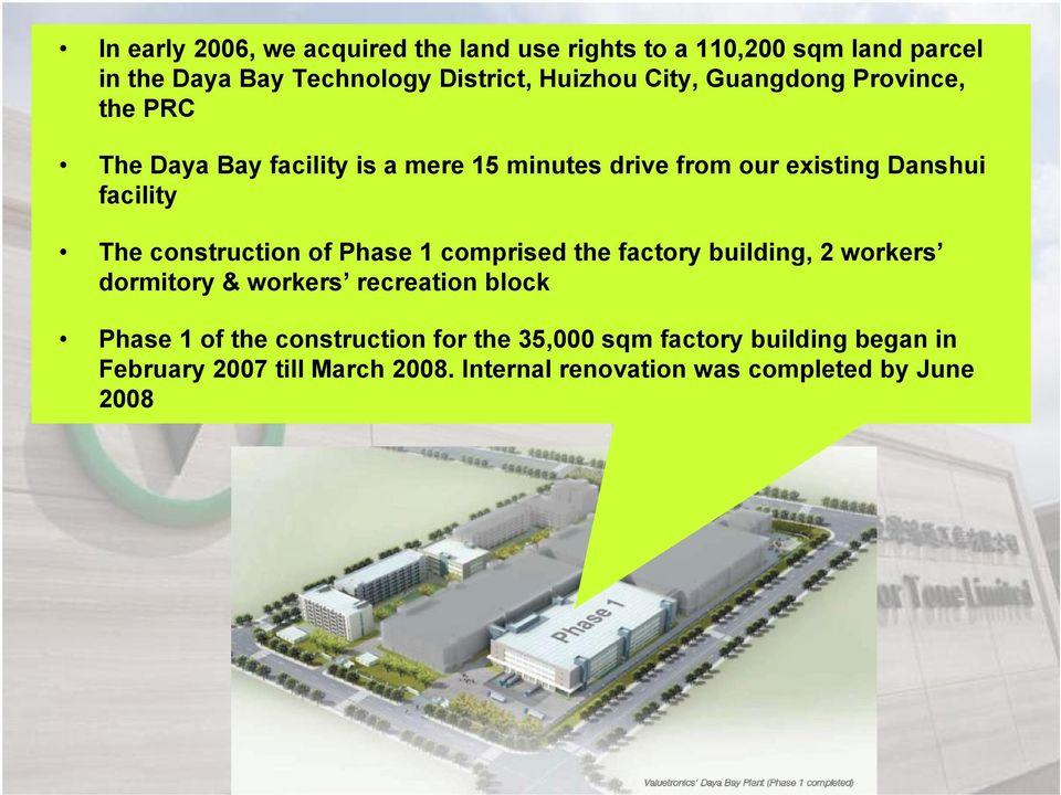 construction of Phase 1 comprised the factory building, 2 workers dormitory & workers recreation block Phase 1 of the