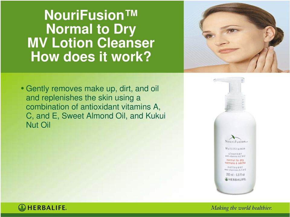 replenishes the skin using a combination of