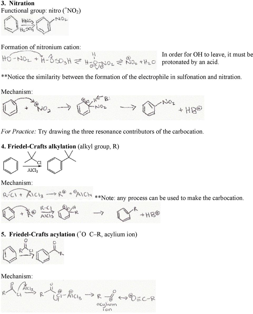**Notice the similarity between the formation of the electrophile in sulfonation and nitration.