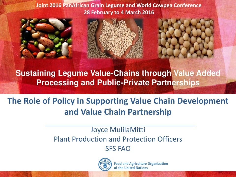 Public-Private Partnerships The Role of Policy in Supporting Value Chain