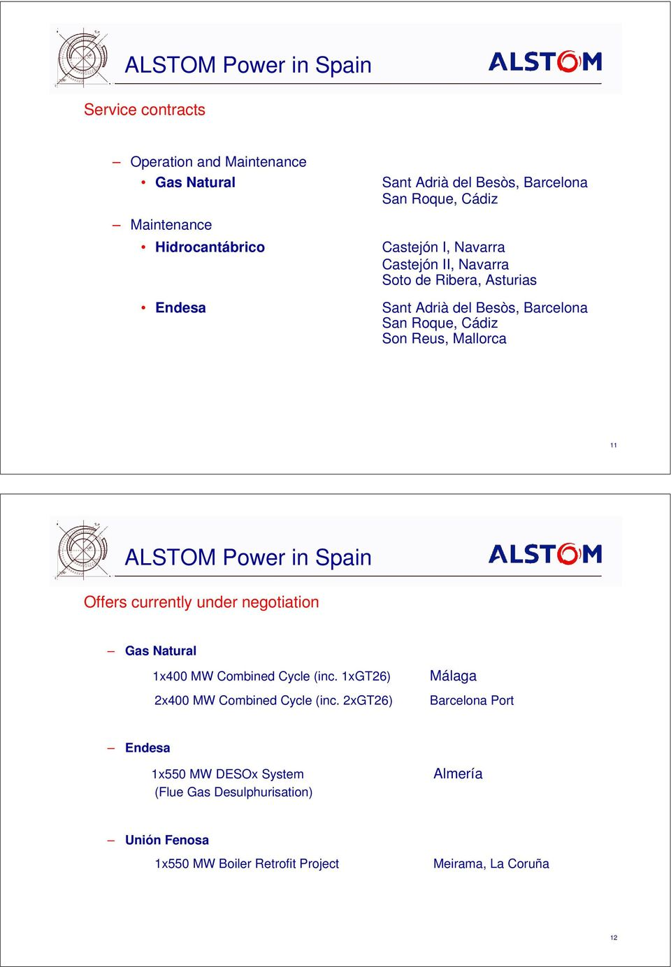 Mallorca 11 ALSTOM Power in Spain Offers currently under negotiation Gas Natural 1x400 MW Combined Cycle (inc. 1xGT26) 2x400 MW Combined Cycle (inc.