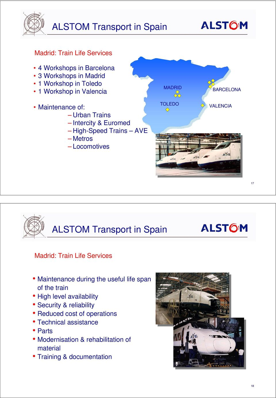 ALSTOM Transport in Spain Madrid: Train Life Services Maintenance during the useful life span of the train High level availability