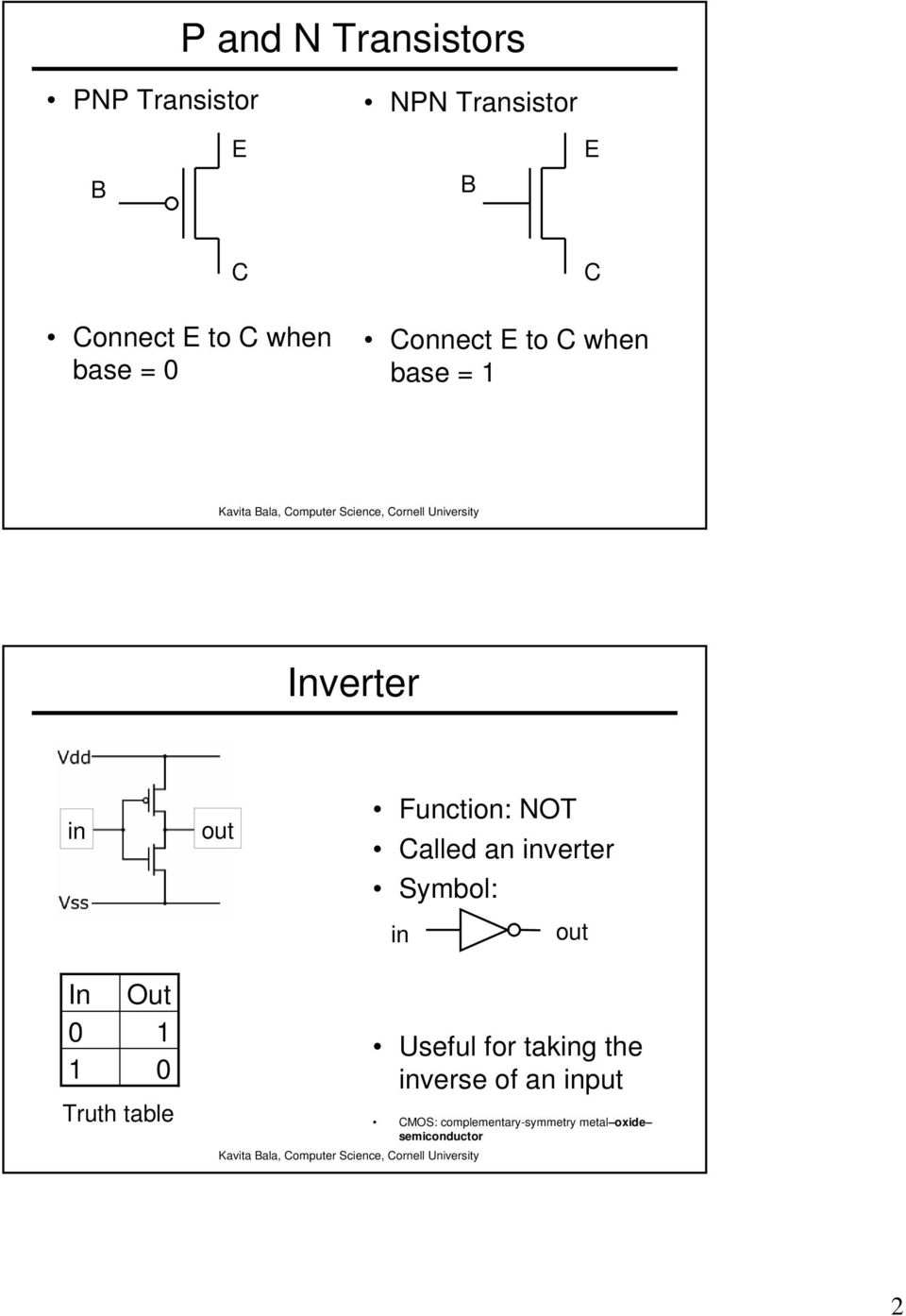Clled n inverter Symol: in In Out Truth tle Useful for tking the