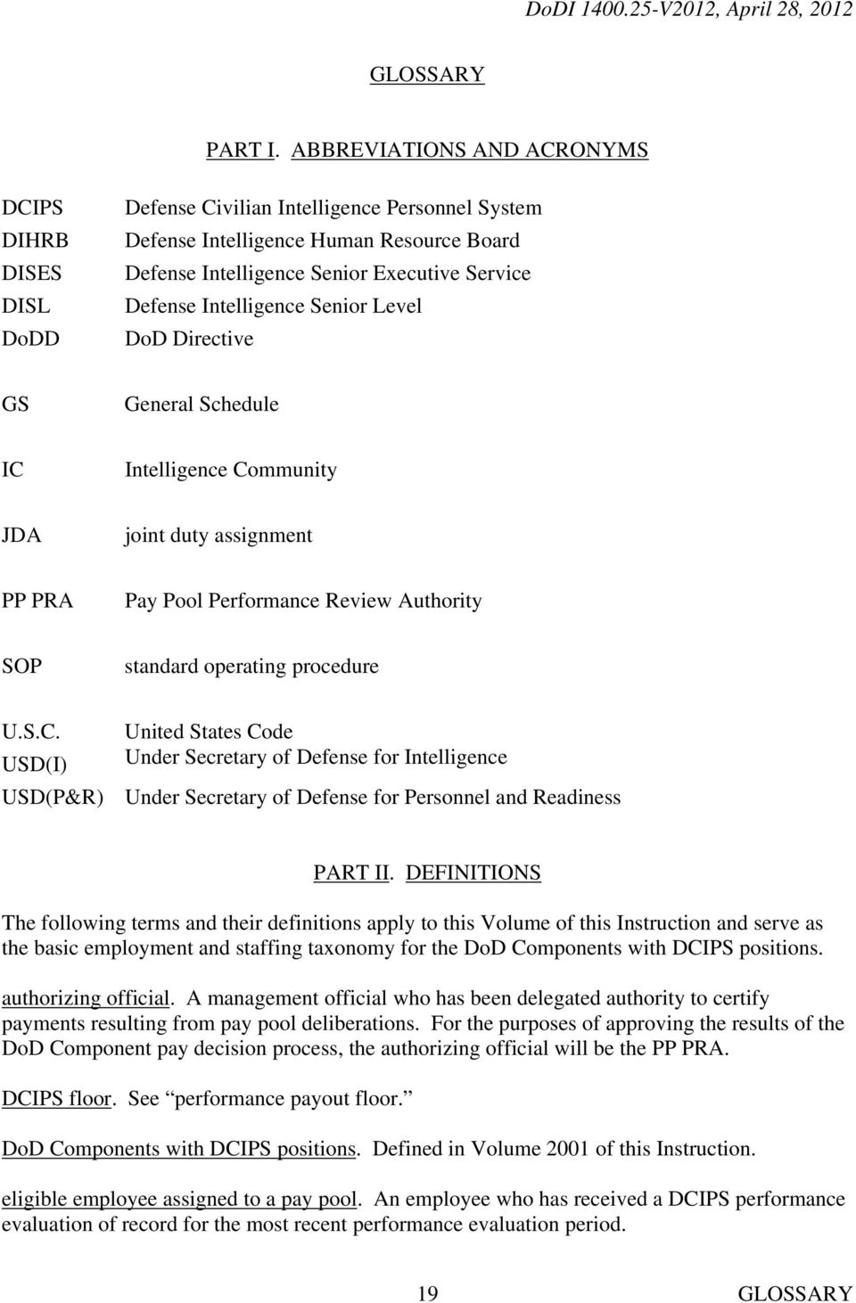 Intelligence Senior Level DoD Directive GS General Schedule IC