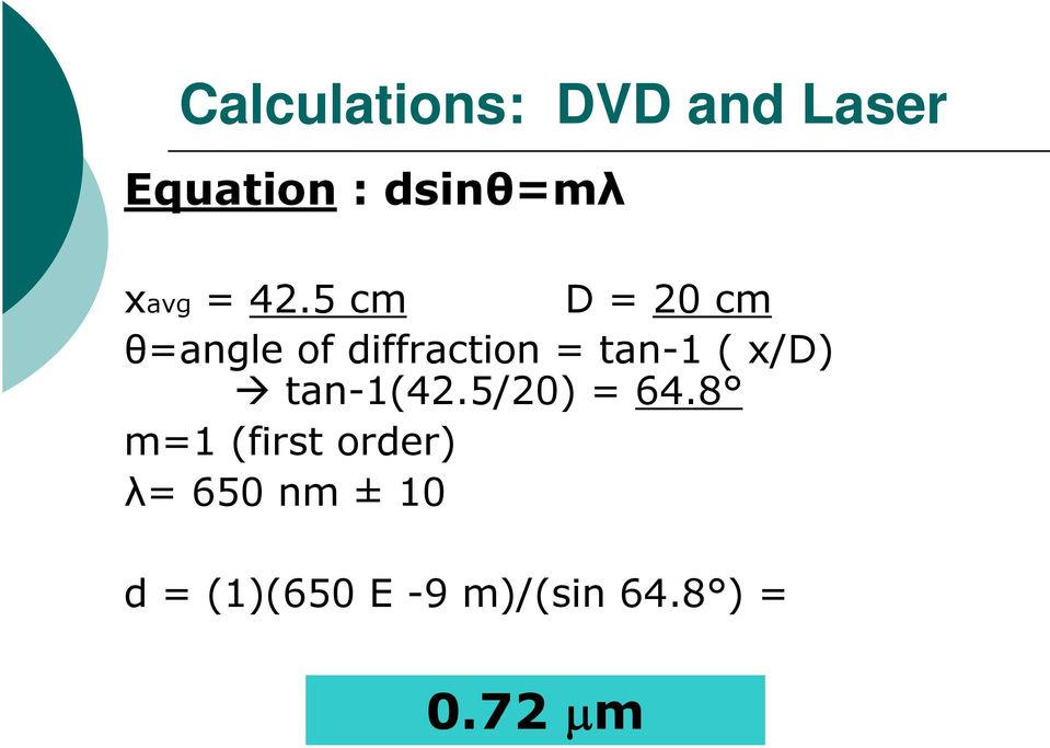 5 cm D = 20 cm θ=angle of diffraction = tan-1 (
