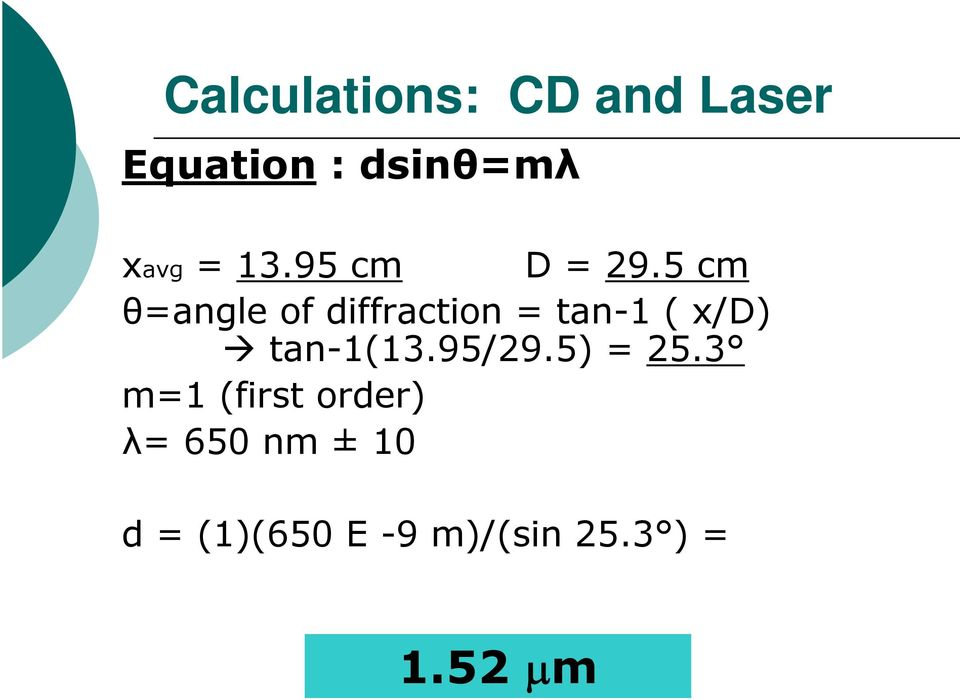 5 cm θ=angle of diffraction = tan-1 ( x/d) tan-1(13.