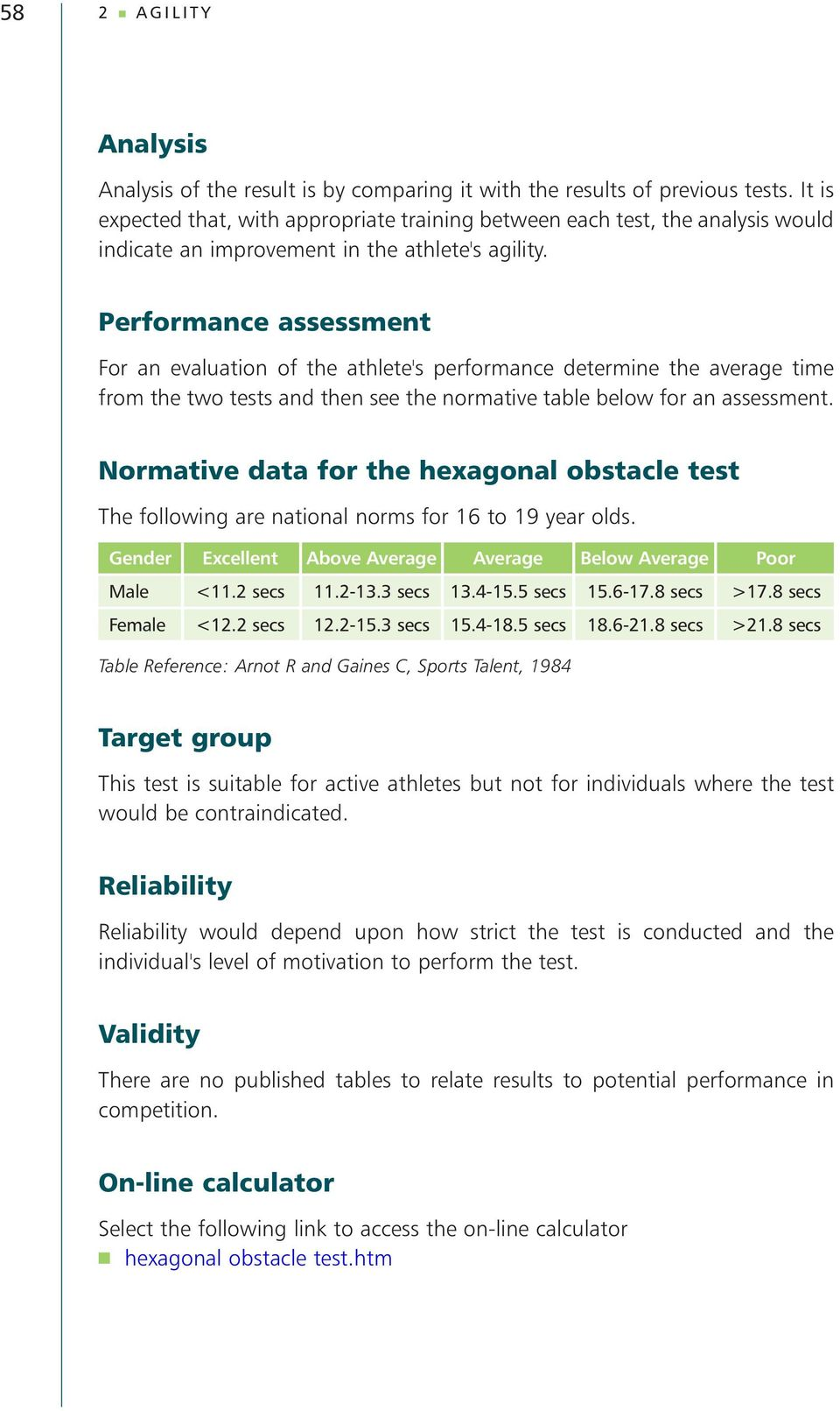 Performance assessment For an evaluation of the athlete's performance determine the average time from the two tests and then see the normative table below for an assessment.
