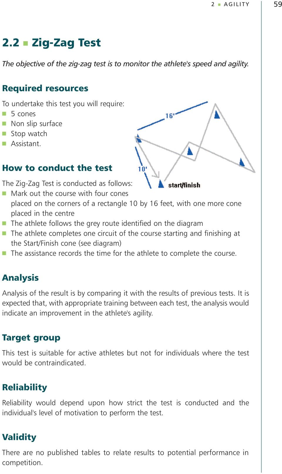 How to conduct the test The Zig-Zag Test is conducted as follows: Mark out the course with four cones placed on the corners of a rectangle 10 by 16 feet, with one more cone placed in the centre The