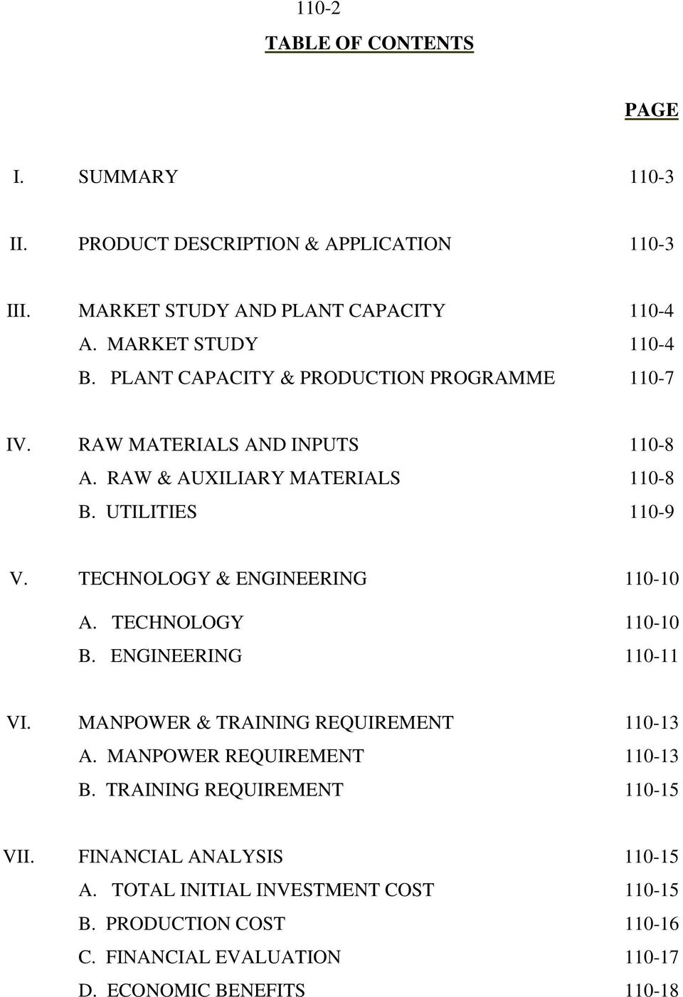 UTILITIES 0-9 V. TECHNOLOGY & ENGINEERING 0-0 A. TECHNOLOGY 0-0 B. ENGINEERING 0- VI. MANPOWER & TRAINING REQUIREMENT 0-3 A.