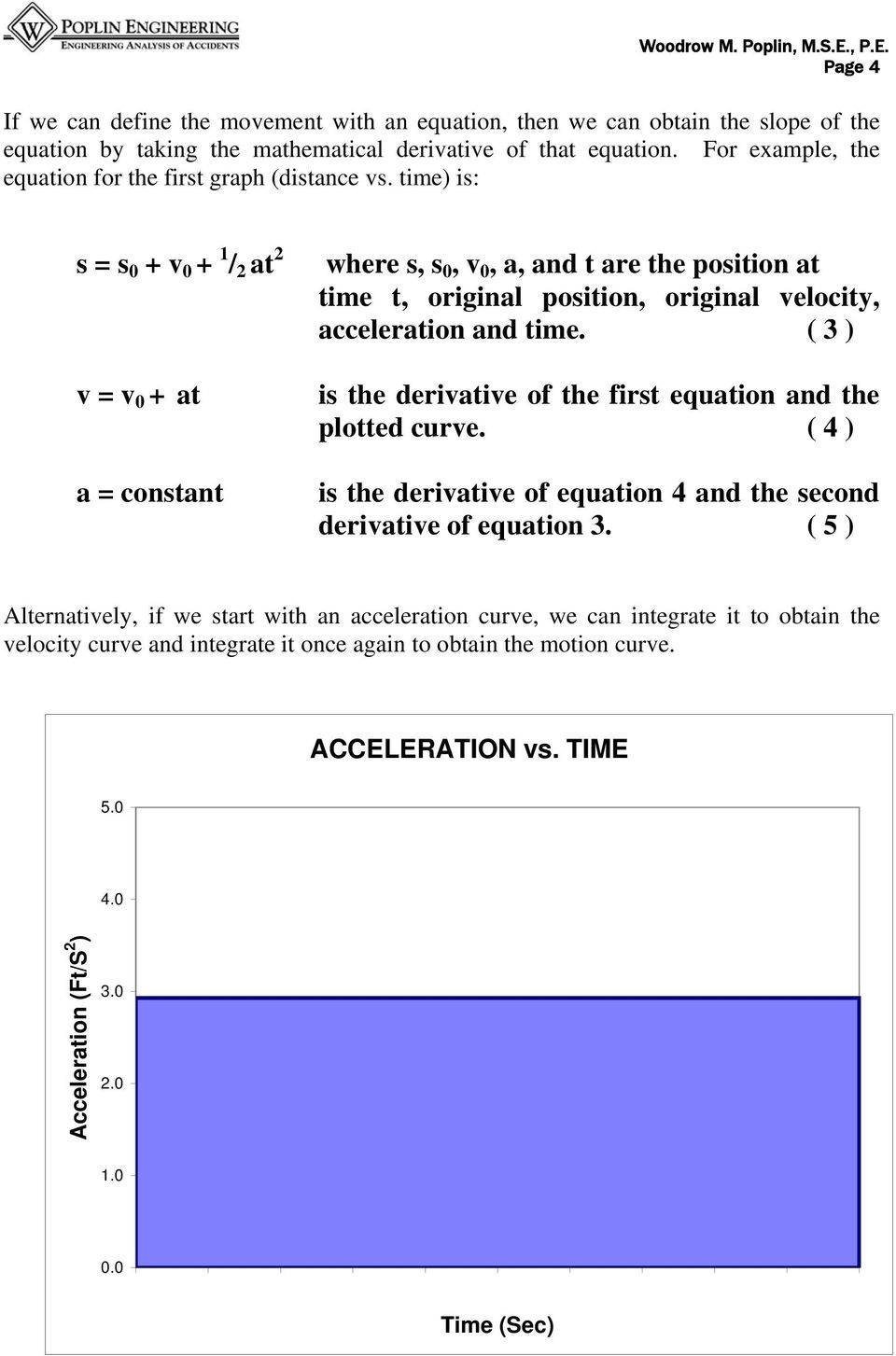 time) is: s = s + v + 1 / 2 at 2 v = v + at a = constant where s, s, v, a, and t are the position at time t, original position, original velocity, acceleration and time.