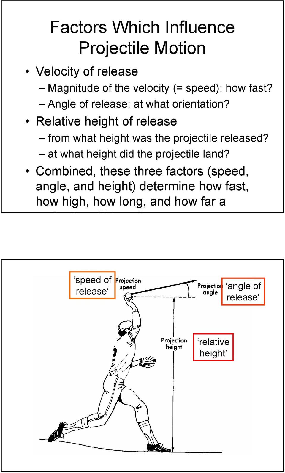 Relative height of release from what height was the projectile released?