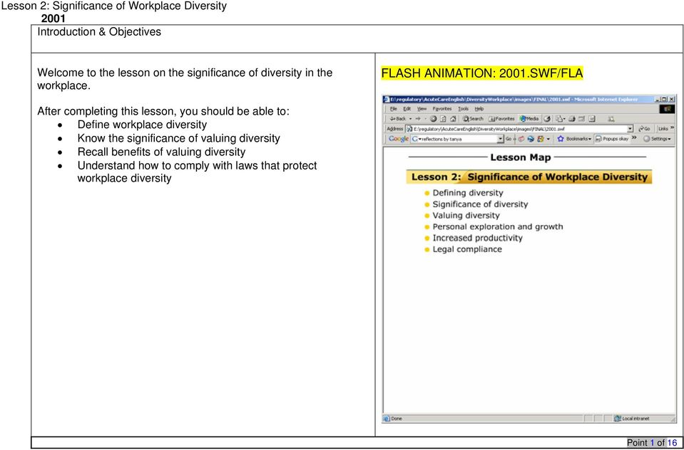 SWF/FLA After completing this lesson, you should be able to: Define workplace diversity Know the