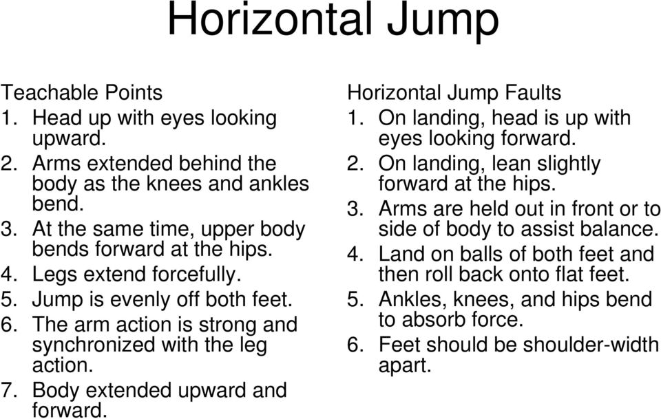 The arm action is strong and synchronized with the leg action. 7. Body extended upward and forward. Horizontal Jump Faults 1. On landing, head is up with eyes looking forward.