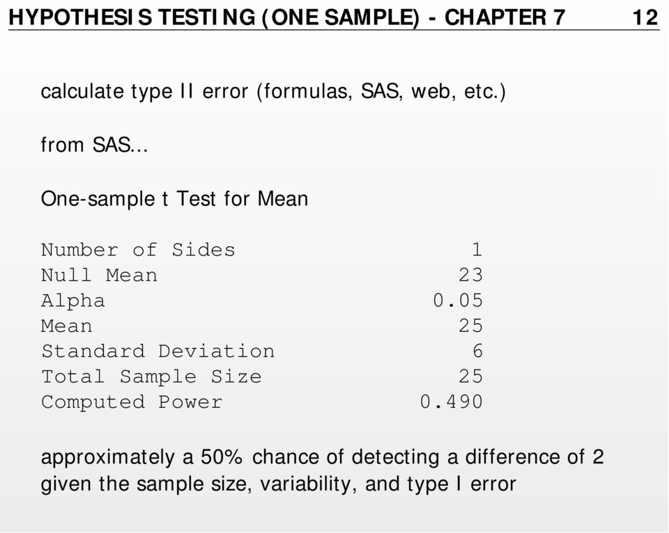 05 Mean 25 Standard Deviation 6 Total Sample Size 25 Computed Power 0.