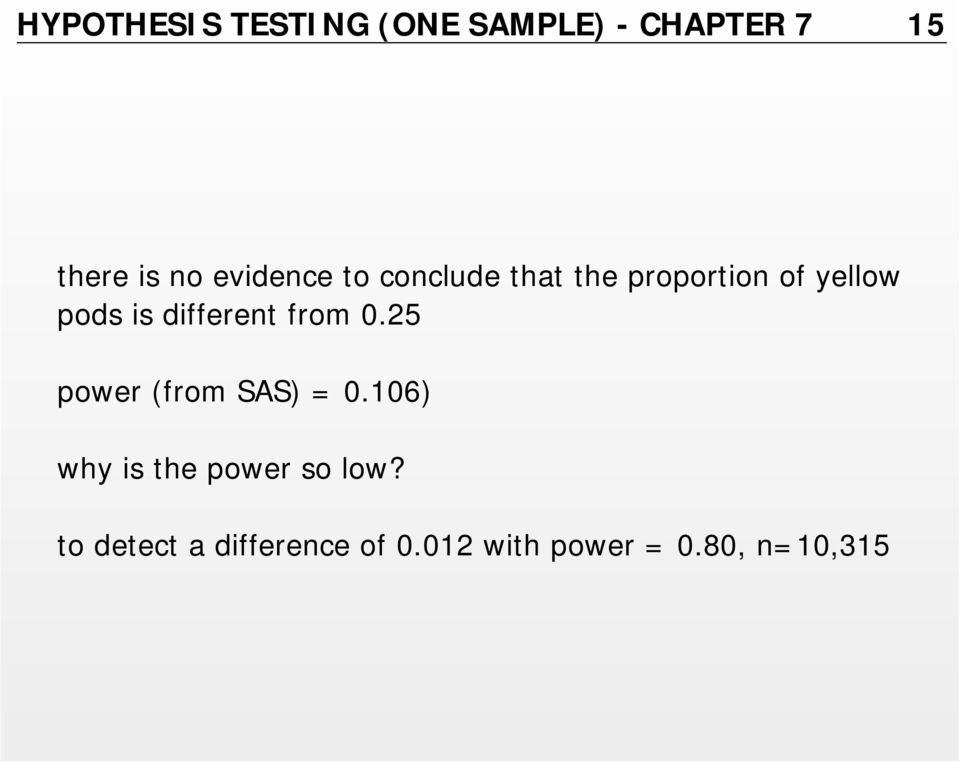 different from 0.25 power (from SAS) = 0.